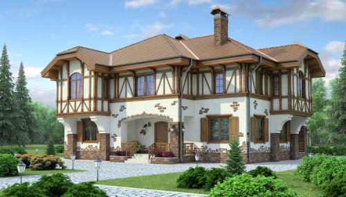 Отделка фасада дома в фехверк стиле